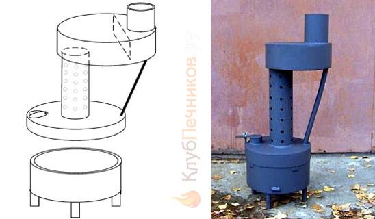 Сборочный чертеж (слева) и внешний вид (справа) пиролизной печи