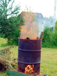 Мусорная печь из бочки