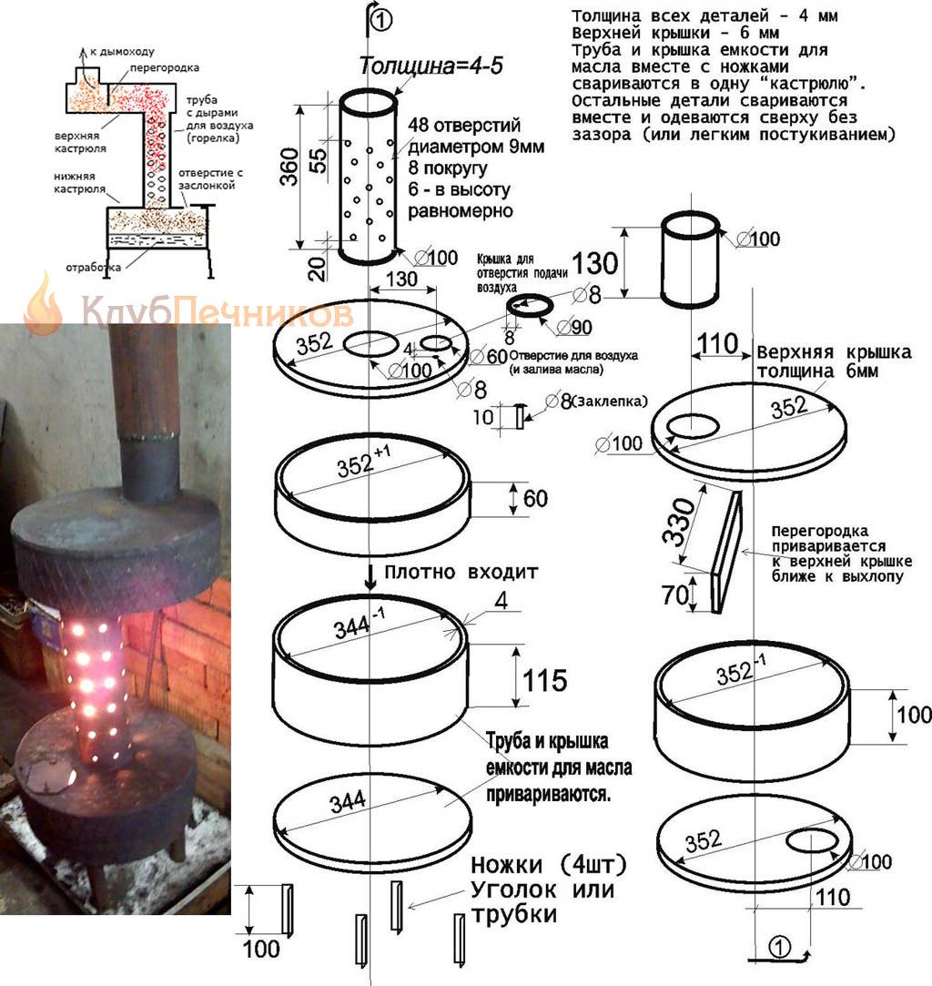 Гаражная печь на отработке из труб