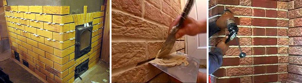 Поклейка плитки и затирка швов при облицовке печи или камина