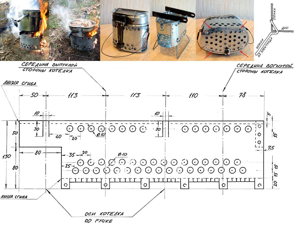 Устройство и чертеж с размерами походной печи-щепочницы для армейского котелка