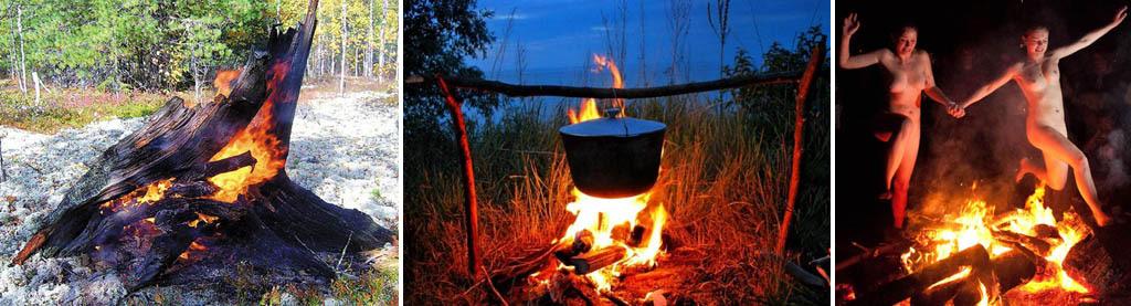 Костры для выживания, готовки в походе и ритуальный