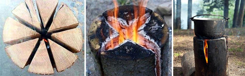 Костер индейская или финская свеча (деревянный примус)