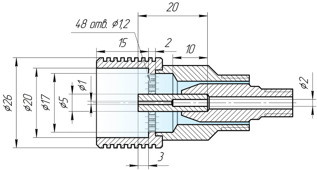 Чертеж распылительной головки эжекционной горелки для жидкого топлива