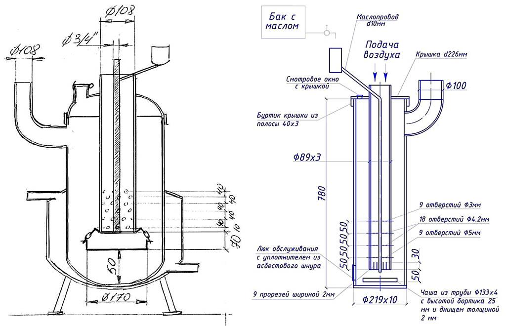 Чертежи капельных котлов на солярке для водяного и воздушного отопления