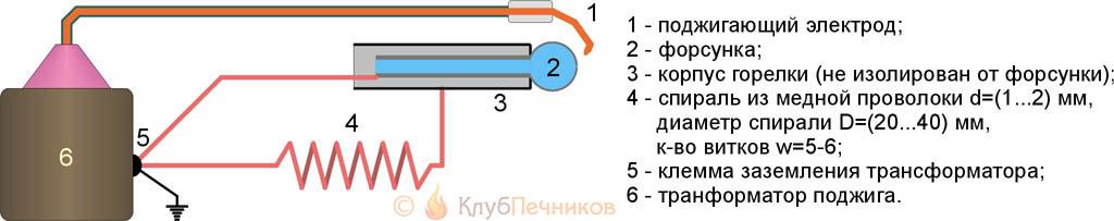 Схема зажигания горелки на отработке одним электродом
