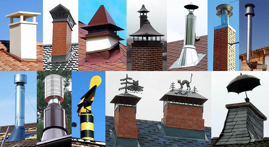 Дефлекторы на дымовых трубах жилых домов