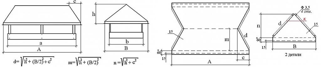 Построение развертки вальмового шатра (зонта) дымника