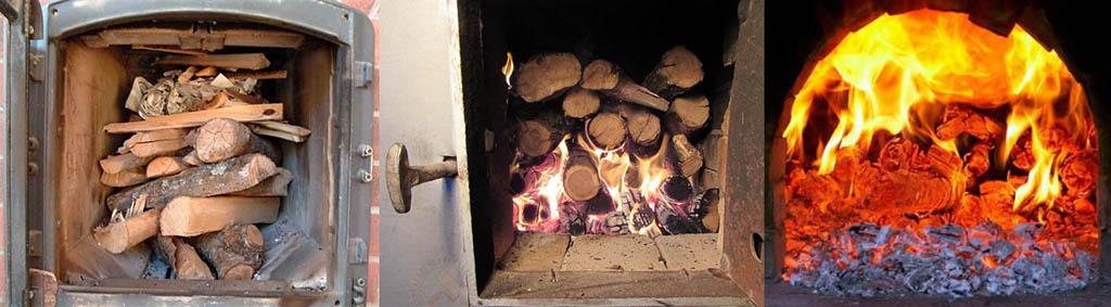 Неправильная загрузка дров в печь