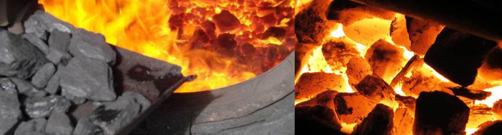 Топка печи углем