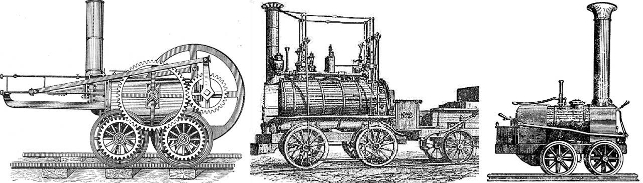 Первые паровозы Тревитика, Стефенсона и Черепановых
