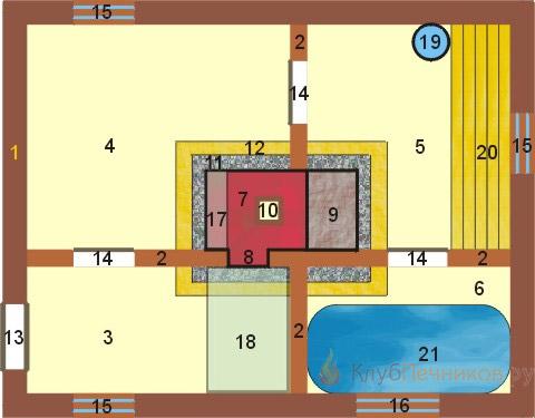План бани из четырех отделений