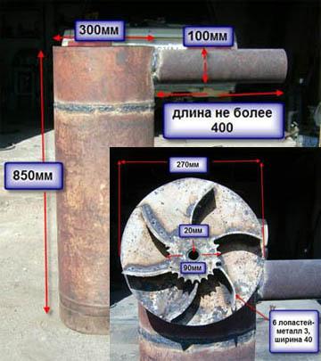 Основные размеры бубафони малой мощности