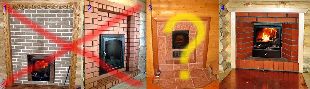 Неправильное и правильное устройство противопожарной разделки перед печью.