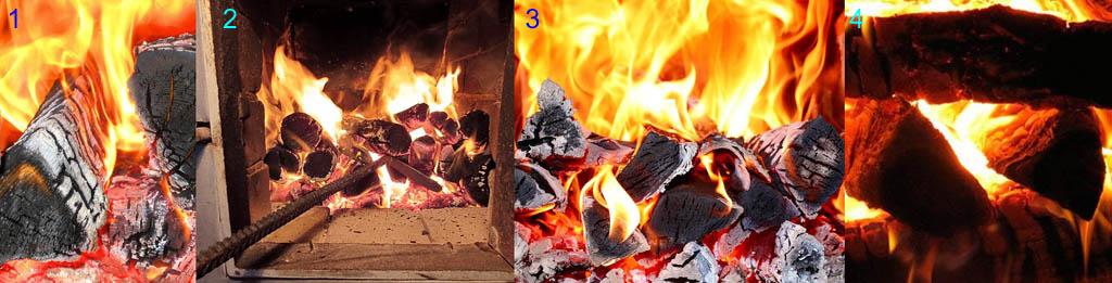 Проверка процесса горения дров в топке перед догрузкой топлива (подтопкой печи)